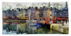 Bath Towel featuring the photograph France Fishing Village by Claire Bull