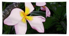 Bath Towel featuring the digital art Frangipani Moment by Winsome Gunning