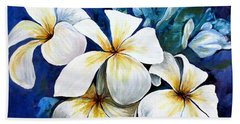 Hand Towel featuring the painting Frangipani by Ryn Shell