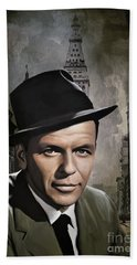 Hand Towel featuring the painting  Frank Sinatra by Andrzej Szczerski