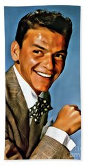 Frank Sinatra, Digital Art By Mary Bassett Hand Towel by Mary Bassett