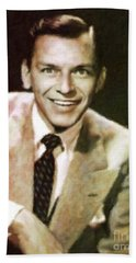 Frank Sinatra, Hollywood Legend By Mary Bassett Hand Towel by Mary Bassett