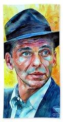 Frank Sinatra In Blue Fedora Hand Towel