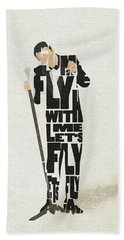 Bath Towel featuring the painting Frank Sinatra Typography Art by Inspirowl Design