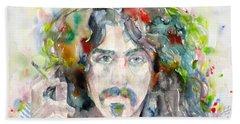 Frank Zappa - Watercolor Portrait.8 Hand Towel