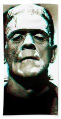 Bath Towel featuring the digital art Frankensteins Monster Karloff by Joy McKenzie