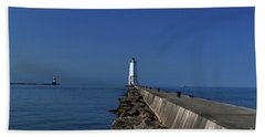 Frankfort Lighthouse In Michigan Hand Towel