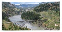 Fraser River Bridge Near Williams Lake Hand Towel