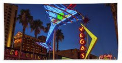 Bath Towel featuring the photograph Freemont East District Neon Signs From The West At Dawn Wide by Aloha Art