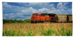 Freight Train Hand Towel by Kelly Wade