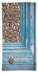 Bath Towel featuring the photograph French Blue - Paris Door by Melanie Alexandra Price