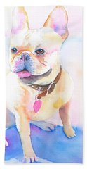 French Bulldog Watercolor Bath Towel