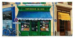 French Pastry Shop Hand Towel by Marilyn Dunlap
