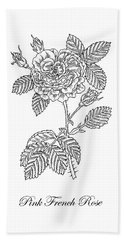 French Rose Botanical Drawing Black And White Hand Towel