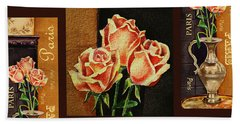 French Roses Design Bath Towel