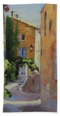 Bath Towel featuring the painting French Street by Chris Hobel