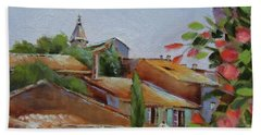 Hand Towel featuring the painting French Village by Chris Hobel