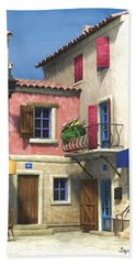 French Village Scene - Provence Bath Towel by Jayne Wilson