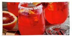 Hand Towel featuring the photograph Fresh Blood Orange Margaritas by Teri Virbickis