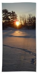 Fresh Deer Tracks At Sunrise Hand Towel