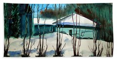 Bath Towel featuring the painting Fresh Snow Double Matted by Charlie Spear