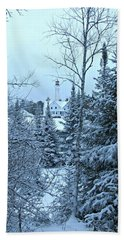 Fresh Snow Hand Towel by Greta Larson Photography