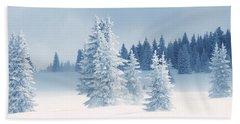 Fresh Snow On Pine Trees, Taos County Bath Towel