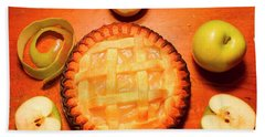 Freshly Baked Pie Surrounded By Apples On Table Hand Towel