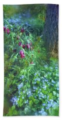 Bath Towel featuring the photograph Fritillaria And Forget-me-nots  by Connie Handscomb