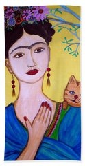 Hand Towel featuring the painting Frida And Her Cat by Pristine Cartera Turkus