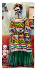 Bath Towel featuring the painting Frida And Her Doll by Heather Calderon