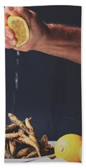 Fried Fish Hand Towel by Happy Home Artistry