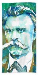 Friedrich Nietzsche Watercolor Portrait.1 Hand Towel