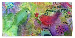 Bath Towel featuring the painting Friends Always Together by Claire Bull
