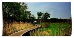 Friends Walking The Wetlands Trail Bath Towel