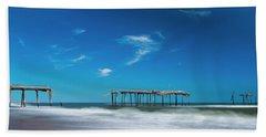 Frisco Fishing Pier In North Carolina Panorama Hand Towel