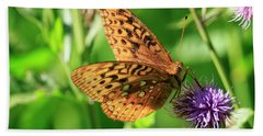 Bath Towel featuring the photograph Fritillary Butterfly by Gary Hall