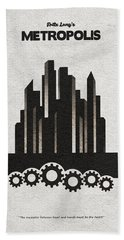 Bath Towel featuring the painting Fritz Lang's Metropolis Alternative Minimalist Movie Poster by Inspirowl Design
