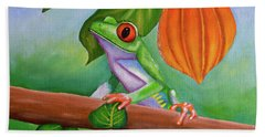 Frog And Cocoa Pod Hand Towel