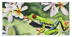 Frog And Plumerias Hand Towel