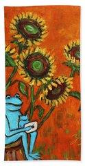 Frog I Padding Amongst Sunflowers Hand Towel by Xueling Zou