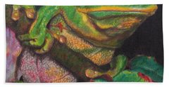 Hand Towel featuring the painting Froggie by Karen Ilari
