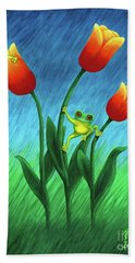 Froggy Tulips Hand Towel