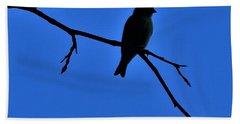 Blue Bird On Blue Bath Towel by John Glass