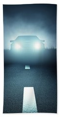 Front Car Lights At Night On Open Road Bath Towel