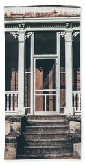 Bath Towel featuring the photograph Front Door Of Abandoned Building by Kim Hojnacki