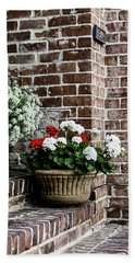 Hand Towel featuring the photograph Front Porch With Flower Pots by Kim Hojnacki