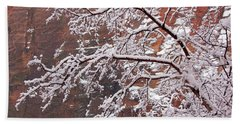 Frosted Branches Bath Towel by Daniel Woodrum