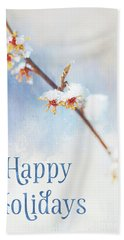 Frosted Witch Hazel Blossoms Holiday Card Bath Towel