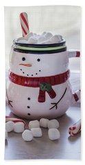 Hand Towel featuring the photograph Frosty Christmas Mug by Kim Hojnacki